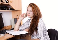 Free Woman At The Desk Stock Photo - 23487380