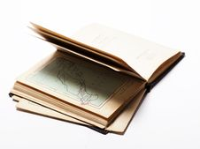 Open Old Book On White Background Royalty Free Stock Photo