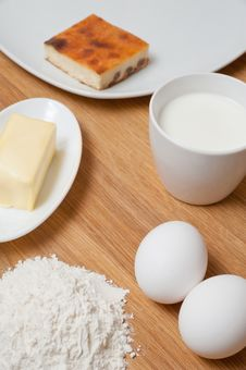 Free Flour With Butter, Milk And Eggs Royalty Free Stock Photography - 23489687