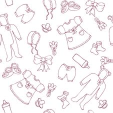 Free Graphic Baby Girl Seamless Pattern Stock Image - 23492201