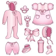 Set Of Baby Girl Accessories Royalty Free Stock Images
