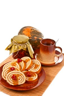 Still Life With Pumpkin And Pastries Royalty Free Stock Photography