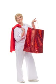 Free Smiling Adult Woman With Shopping Bags Stock Photography - 23496152