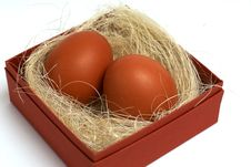 Two Fresh Brown Eggs In Box Royalty Free Stock Photography
