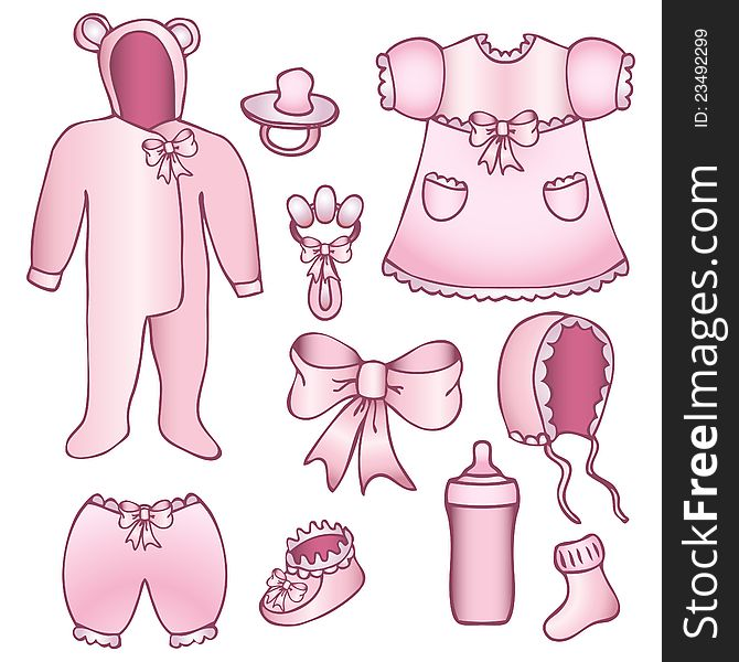 Set of baby girl accessories