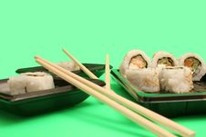 Free Chopsticks With Salmon Sushi R Royalty Free Stock Image - 2350146