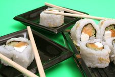 Free Smoked Salmon Sushi Rolls On G Stock Photos - 2350203