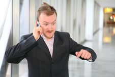 Businessman With Phone Royalty Free Stock Photography
