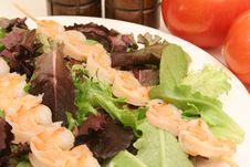 Free Shrimp Skewers On Salad Stock Image - 2350351