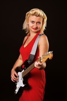 Free Singer Girl With Guitar Royalty Free Stock Photography - 2350387