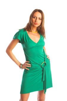 Woman In Green Royalty Free Stock Image