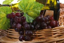 Free Grapes With Leaf And Wine Royalty Free Stock Photo - 2351005