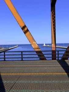 View Through Lift Bridge Stock Photo