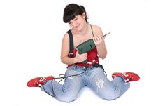 Free Happy  Girl And A Drill Stock Image - 2351131