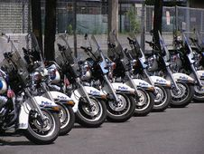 Police Motor Cycles Stock Photos