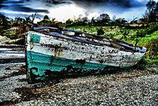 Stranded Sailing Boat Royalty Free Stock Photography