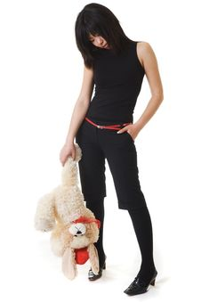Asian Girl And Bear Royalty Free Stock Image
