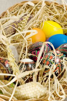 Free Easter Eggs In Straw Nest Royalty Free Stock Photography - 2354917