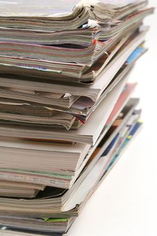 Stack Of Magazines Vertical Royalty Free Stock Photography