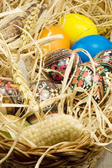 Free Easter Eggs In Straw Nest Stock Photo - 2354940