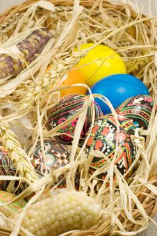 Free Easter Eggs In Straw Nest Royalty Free Stock Photos - 2354948