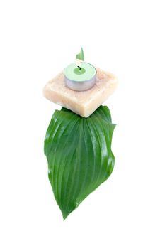 Free Green Leaf, Soap And Candle Royalty Free Stock Photo - 2355065