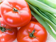 Tomatoes And Onion Royalty Free Stock Photos