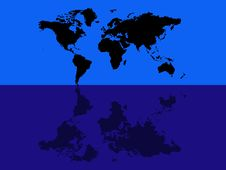 Free World Map Blue Reflection Royalty Free Stock Image - 2359736