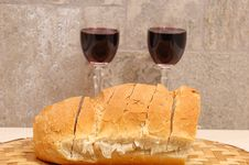 Free Slices Of Bread And Two Glasse Royalty Free Stock Image - 2359976