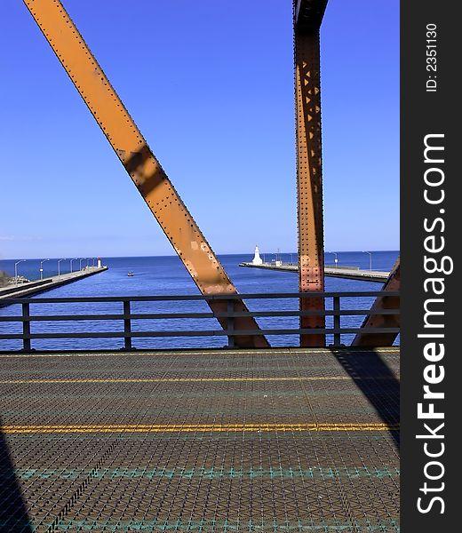 View through lift bridge