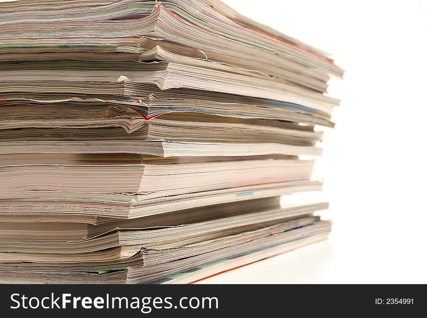 Stack of magazines angle