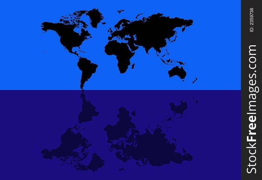 World map blue reflection