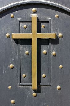 Holy Cross On The Old Door Stock Photos