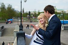 Free Happy Bride And Groom On Wedding Walk Royalty Free Stock Photos - 23507218