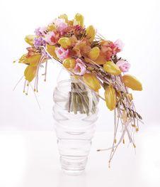 Colorful Flower Arrangement In Glass Vase Stock Images