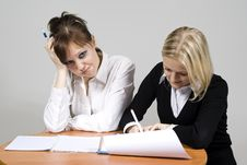 Girls Discontent Sign The Contract Stock Photos