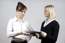 Free Beautiful Girls Send Documents To Each Other Stock Image - 23508431