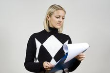 Beautiful Girl Read The Contract Royalty Free Stock Photo