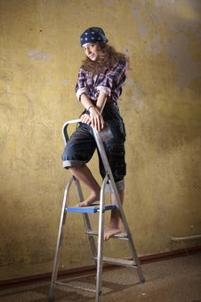 Free Girl Standing On The Ladder Stock Photos - 23509583