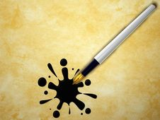 Pen And Splash Royalty Free Stock Images