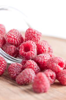 Free Bowl Of Raspberries On Wooden Table Close Up Royalty Free Stock Photography - 23509927