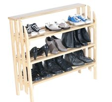 Wooden Shelves With Shoes Stock Images