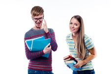 Free Male And Female Students Laughing Stock Photo - 23516230
