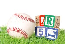 Free Baseball With Blocks Royalty Free Stock Photo - 23517185