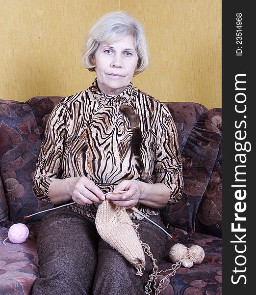 Woman with knitting