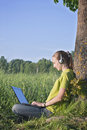 Free Girl With Laptop In The Country Royalty Free Stock Photos - 23529378