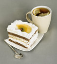 Free Piece Of Cake With Fruit, Tea With , Spoon Royalty Free Stock Photography - 23529867