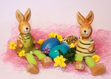 Free Easter Rabbits And Dyed Eggs Royalty Free Stock Photo - 23523175