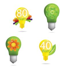 Free Creative Eco Green And Gold Bulb Royalty Free Stock Photography - 23524177