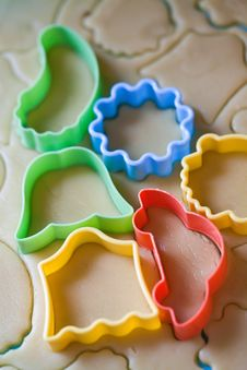 Dough For Biscuits Cutters Royalty Free Stock Photos
